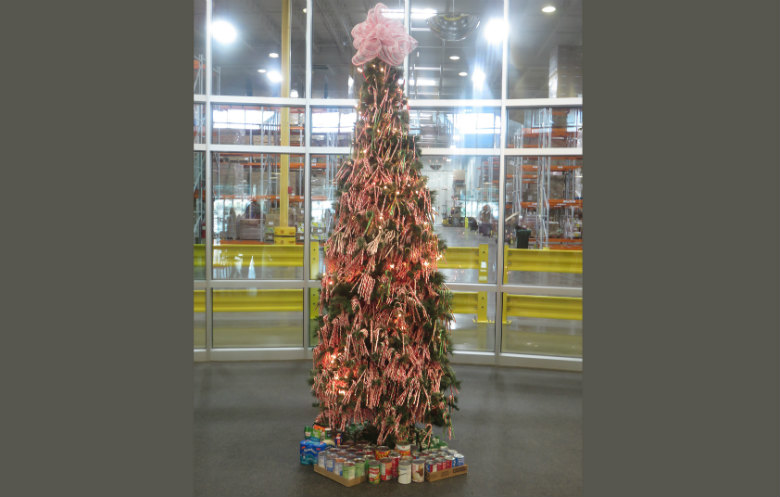 Most candy canes on a Christmas tree