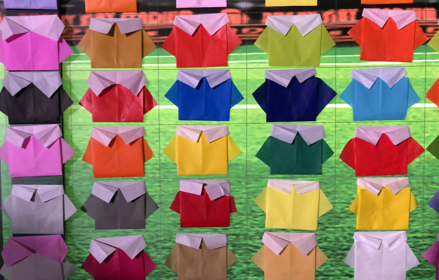 Largest display of origami shirts