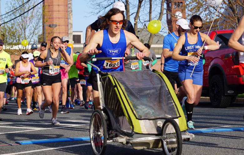 Fastest half marathon pushing a double pram (male)