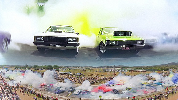 Largest simultaneous car tyre burnout