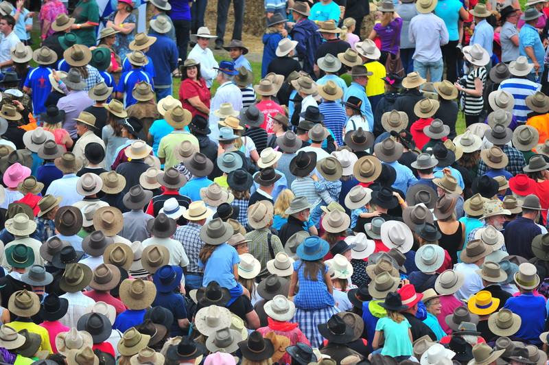 Largest gathering of people wearing akubra hats
