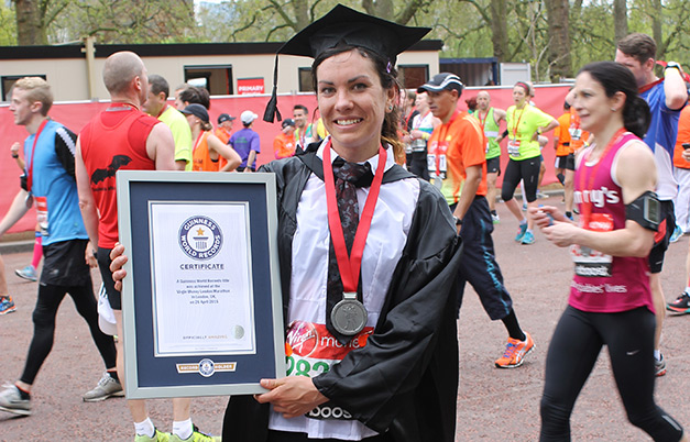 Fastest marathon in a graduation gown (female)