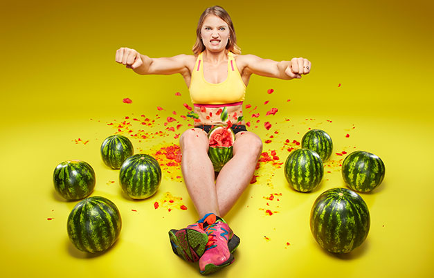 Fastest time to crush three watermelons with the thighs