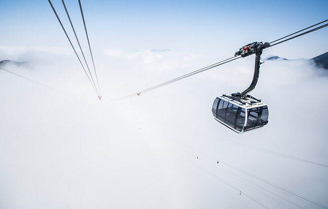Greatest elevation difference by a non-stop three-roped cable car